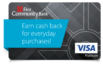 A FCB Consumer Visa Credit Card; with the phrase earn cash back for everyday purchases.