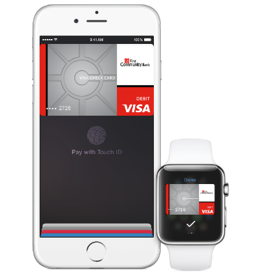 Apple Pay on iPhone and Apple Watch.